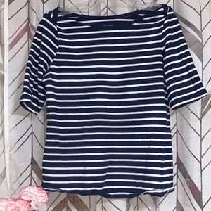 Navy and White Striped Women's Top
